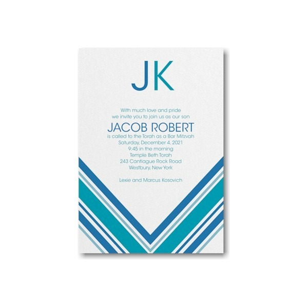 Regal Stripes Bar Mitzvah Invitation alt