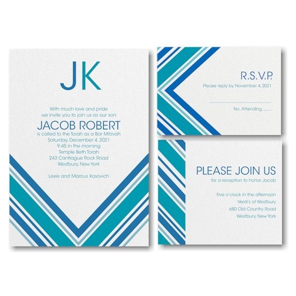 Regal Stripes Bar Mitzvah Invitation