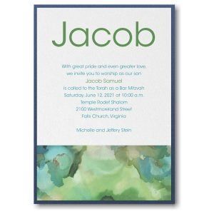 Be Bold Celestial in Emerald Layered Bar Mitzvah Invitation Sample
