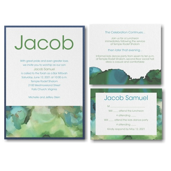 Be Bold Celestial Emerald Layered Bar Mitzvah Invitation