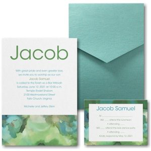 Be Bold Celestial Emerald Pocket Bar Mitzvah Invitation