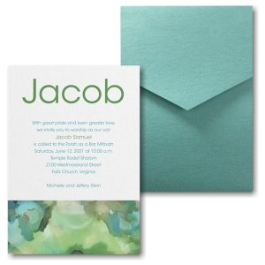 Be Bold Celestial in Emerald Pocket Bar Mitzvah Invitation Sample