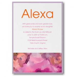 Be Bold Celestial Fuchsia Layered Bat Mitzvah Invitation