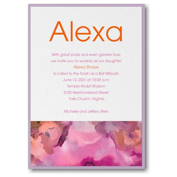 be bold celestial in fuchsia layered bat mitzvah invitation bar