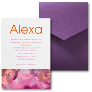 Be Bold Celestial in Fuchsia Pocket Bat Mitzvah Invitation Sample