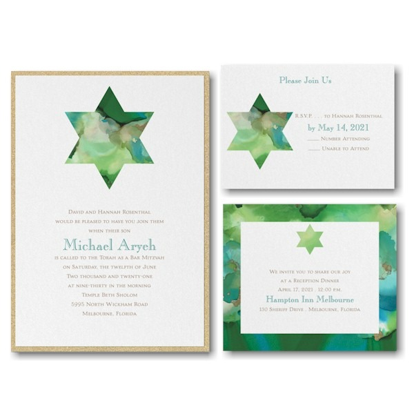 Be Bold Star of David Emerald Layered Bar Mitzvah Invitation