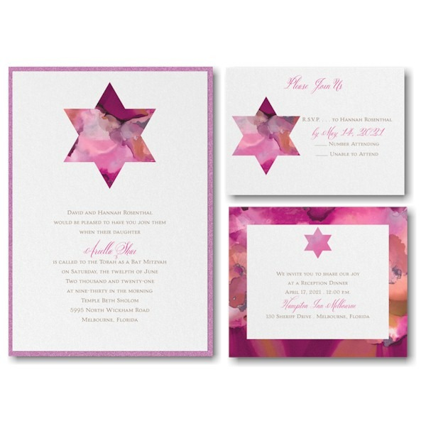 Be Bold Star of David Fuchsia Bat Mitzvah Invitation