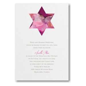 Be Bold Star of David Fuchsia Bat Mitzvah Invitation Icon