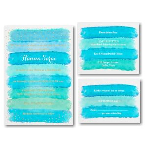 Bright Watercolor Aqua Bat Mitzvah Invitation
