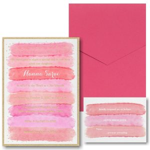 Bright Watercolor Coral Pocket Bat Mitzvah Invitation