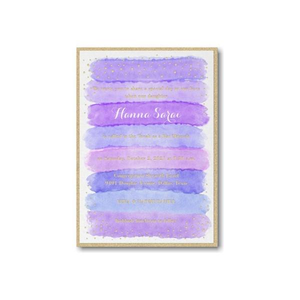 Bright Watercolor Hydrangea Layered Bat Mitzvah Invitation alt