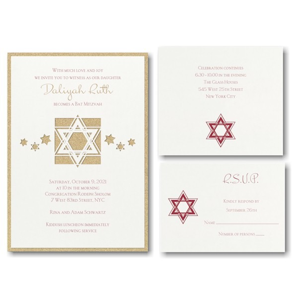 Dazzling Star Bat Mitzvah Invitation