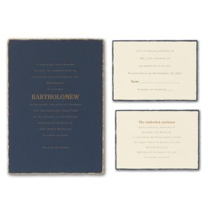 Feathered Deckle Bar Mitzvah Invitation