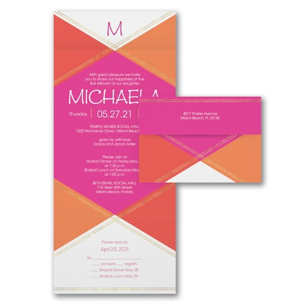 Geometric Celebration Seal 'n Send Bat Mitzvah Invitation Sample