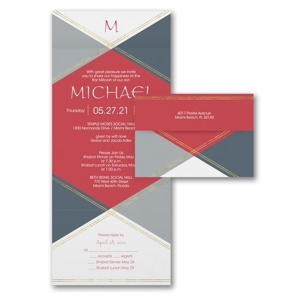 Geometric Celebration Seal 'n Send Bar Mitzvah Invitation Sample
