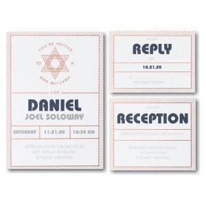 Mitzvah Stripes Bar Mitzvah Invitation
