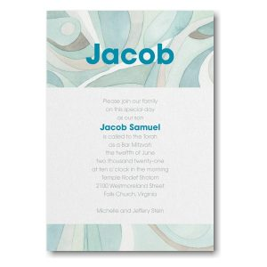 Modern Mosaic Lagoon Bar Mitzvah Invitation Icon