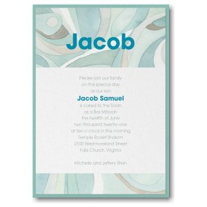 Modern Mosaic Lagoon Layered Bar Mitzvah Invitation Icon