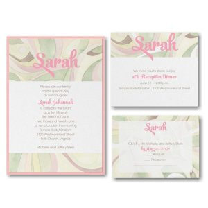 Modern Mosaic Pink Layered Bat Mitzvah Invitation