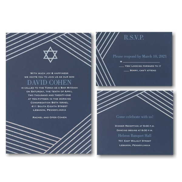 Modern Star Bar Mitzvah Invitation