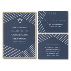 Modern Star Layered Bar Mitzvah Invitation