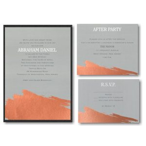 Painted Foil Layered Bar Mitzvah Invitation