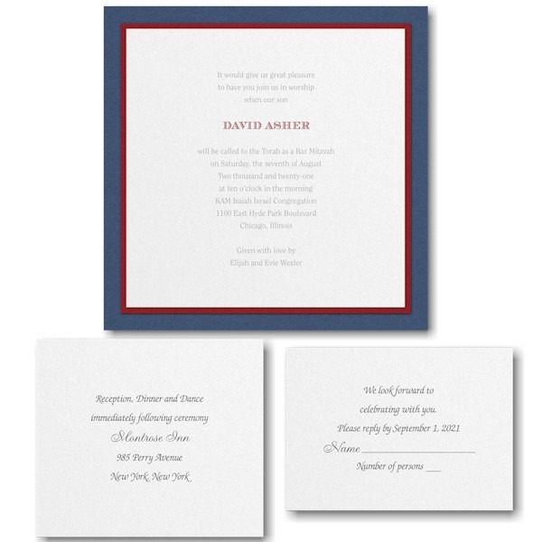 Sophisticated Sapphire Bar Mitzvah Invitation