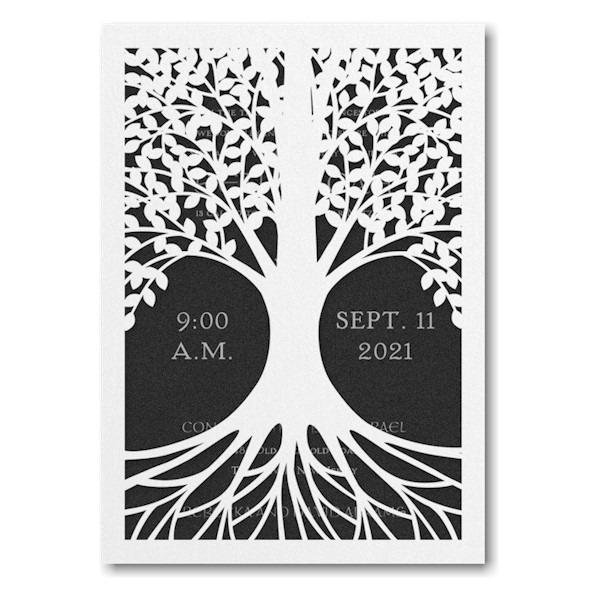 Tree of Life in Black Bar Mitzvah Invitation Sample