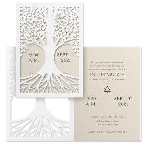 Tree of Life Ecru Bar Mitzvah Invitation