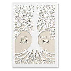 Tree of Life Ecru Bar Mitzvah Invitation Icon