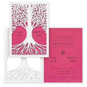 Tree of Life Fuchsia Bat Mitzvah Invitation