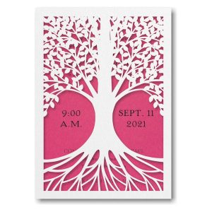 Tree of Life Fuchsia Bat Mitzvah Invitation Icon
