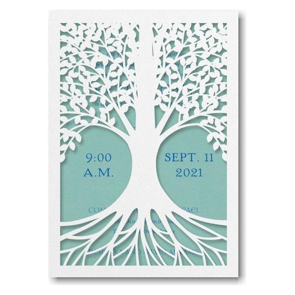 Tree of Life in Lagoon Bar Mitzvah Invitation Sample