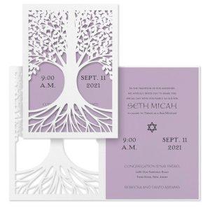 Tree of Life Lavender Bat Mitzvah Invitation