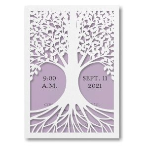 Tree of Life in Lavender Bat Mitzvah Invitation Sample