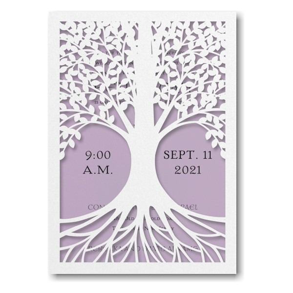 Tree of Life in Lavender Bat Mitzvah Invitation Sample