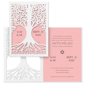 Tree of Life Pastel Pink Bat Mitzvah Invitation