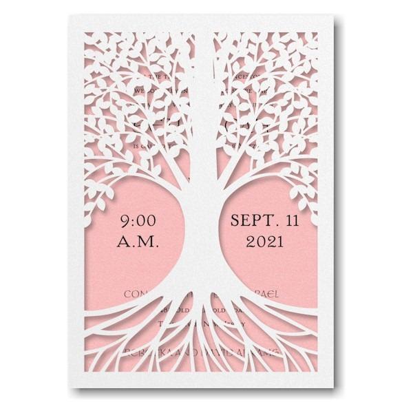 Tree of Life in Pastel Pink Bat Mitzvah Invitation Sample