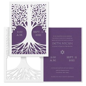 Tree of Life Purple Bar Mitzvah Invitation