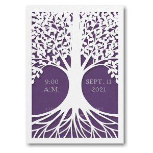 Tree of Life in Purple Bar Mitzvah Invitation Sample