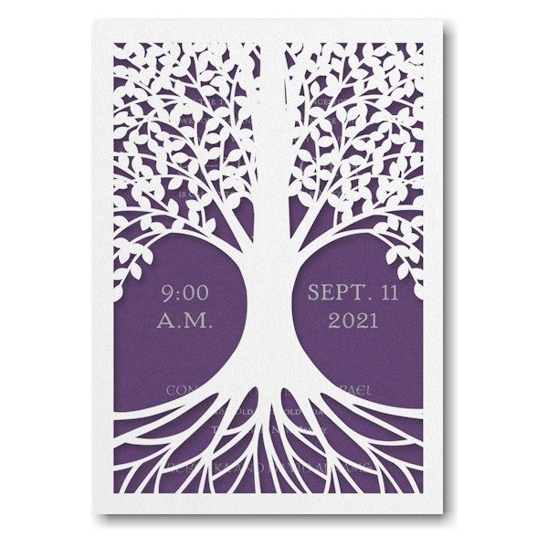 Tree of Life in Purple Bar Mitzvah Invitation Sample