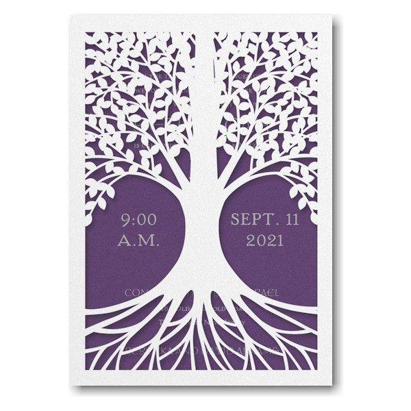 Tree of Life in Purple Bat Mitzvah Invitation Sample
