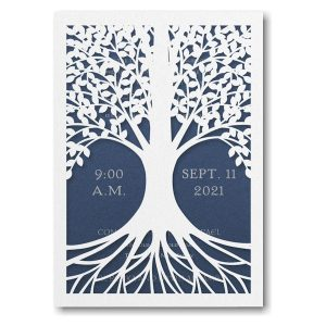 Tree of Life in Sapphire Bar Mitzvah Invitation Sample