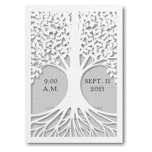 Tree of Life in Silver Bar Mitzvah Invitation Sample