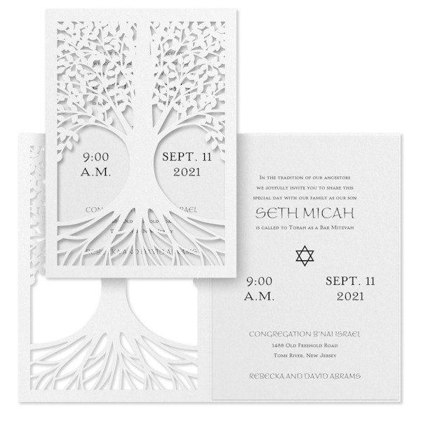 Tree of Life White Bat Mitzvah Invitation