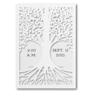 Tree of Life in White Bat Mitzvah Invitation Sample