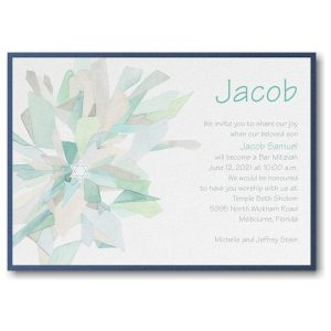 Watercolor Celebration in Lagoon Layered Bar Mitzvah Invitation Sample