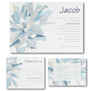 Watercolor Celebration Midnight Bar Mitzvah Invitation