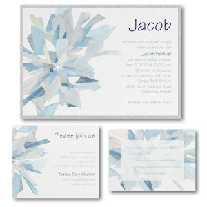 Watercolor Celebration Midnight Layered Bar Mitzvah Invitation