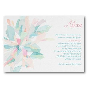 Watercolor Celebration Pink Bat Mitzvah Invitation Icon